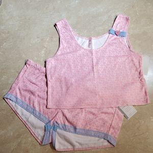 Lorrie Dee Pink Heart Flannel Sleep Top & Shorts L